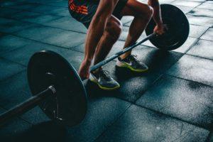 Man preparing to lift weights