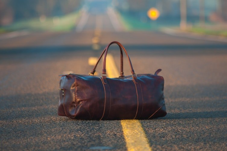 a bag on the road
