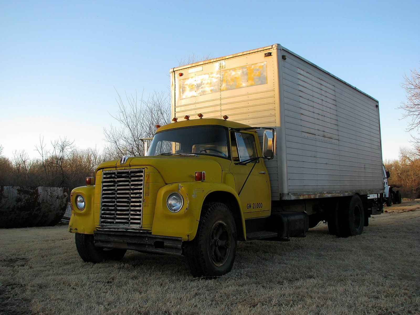 Vintage yellow moving truck