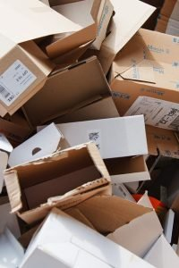 Leftover packing materials and boxes