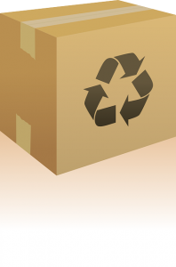 A cardboard box with recycle sign