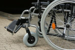 Close up of a wheelchair