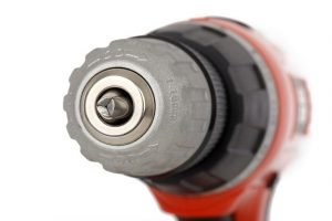 A power drill on a white background