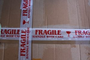 Labeled packing tape