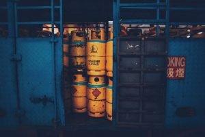 a storage area full of propane tanks
