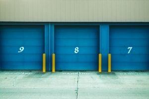 blue roller gates of a storage unit