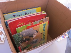 A moving box that's scarcely filled with only a few books