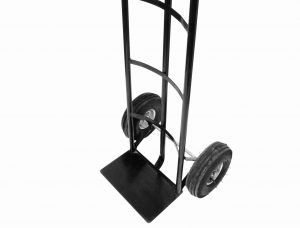 A vertical, black, two-wheeled push cart. Having one of these does wonders for preventing moving day injuries.