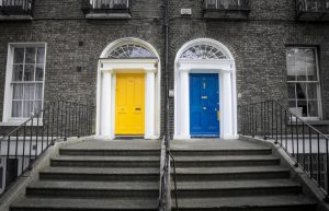 yellow and blue front doors