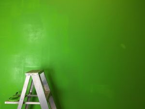 a freshly painted wall and a ladder