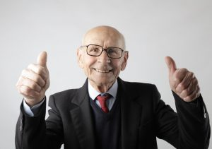 a man showing thumbs up