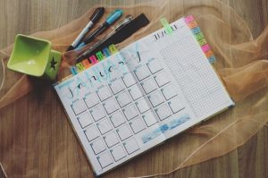 Planner on a table