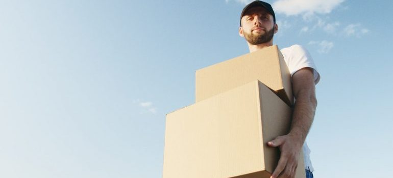A mover with boxes.