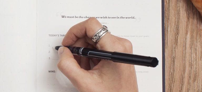 A person making a list